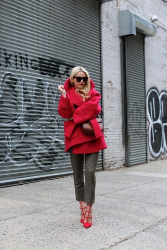 atlantic pacific blogger winter coat wool coat cropped pants red heels red coat streetstyle streetwear red