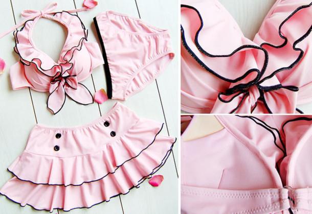 845cefc21b swimwear, bikini, pink, lolita, kawaii, ruffle, buttons, swimwear ...