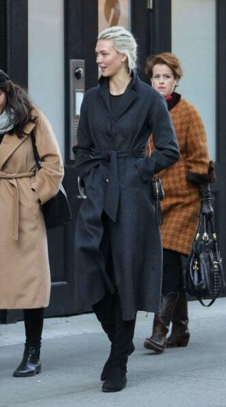 coat karlie kloss winter coat model off-duty streetstyle