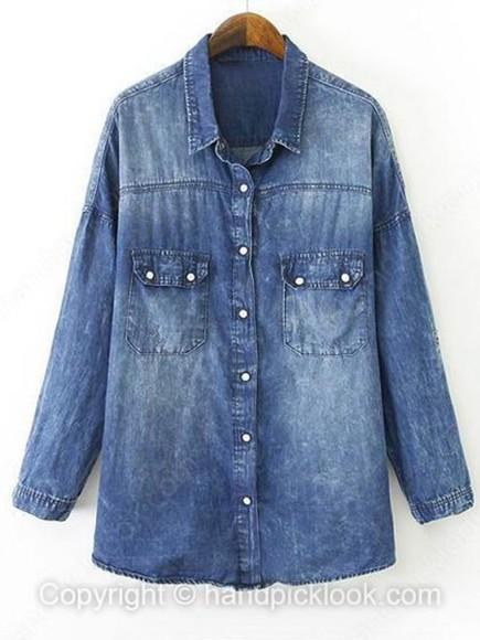 denim shirt blouse denim top woman blouse