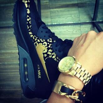 shoes air max nike shoes black gold kicks nike watch jewels leather chain bracelets