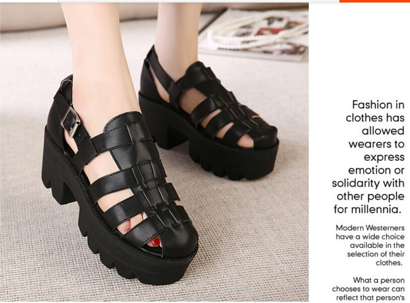 Womens Brand New Cross Straps Thick High Heels Ankle Buckle Sansals Punk Chunky | eBay