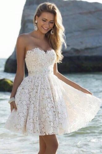 dress lace cream flowers prom short short prom dress white  dress