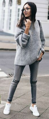 shoes,grey oversized sweater,ripped jeans,white sneakers,glasses,blogger