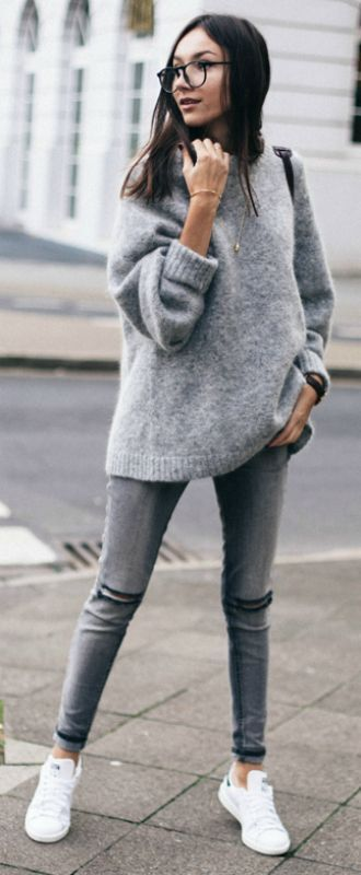 shoes grey oversized sweater ripped jeans white sneakers glasses blogger