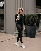pants,leggings,black leggings,sneakers,black blouse,aviator sunglasses,black sunglasses,sportswear