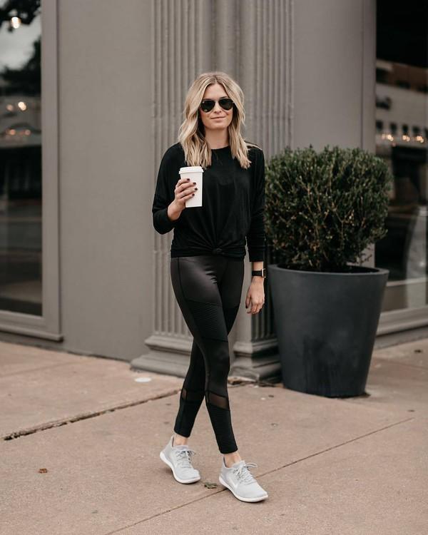 pants leggings black leggings sneakers black blouse aviator sunglasses black sunglasses sportswear