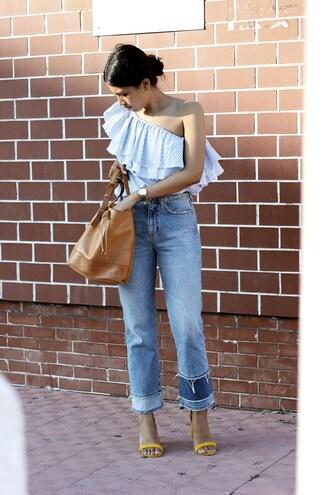top tumblr one shoulder blue top stripes striped top denim jeans blue jeans bag bucket bag sandals sandal heels high heel sandals shoes