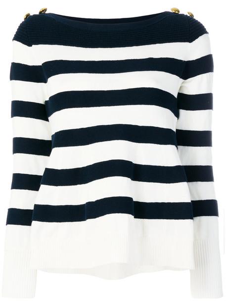 Sacai sweater striped sweater women cotton blue