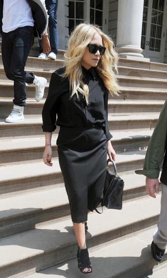 olsen sisters blogger sunglasses blouse bag skirt shoes front slit skirt