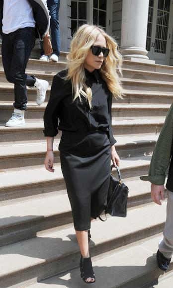 olsen sisters sunglasses bag shoes skirt blouse blogger