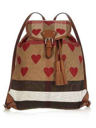 heart backpack print red bag