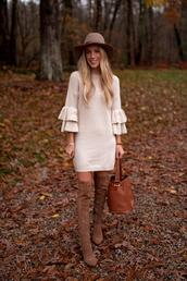 katie's bliss - a personal style blog based in nyc,blogger,sweater,dress,shoes,bag,hat,jewels,brown boots,fall outfits,bell sleeve dress,fall colors