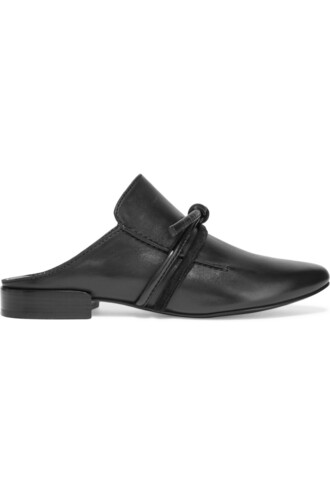 slippers leather suede black shoes