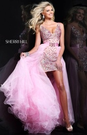 dress,sherri hill,prom dress,high low,pink dress,homecoming,prom