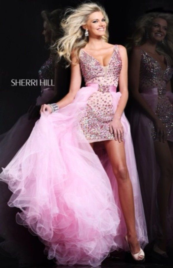 dress, sherri hill, sherri hill, prom dress, high low, pink dress ...