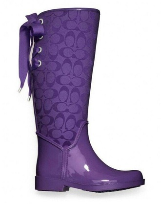 shoes purple coach wellies