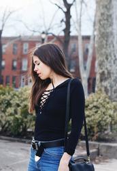 orchid grey,blogger,top,jeans,belt,bag,jewels,lace up bodysuit,bodysuit,black bodysuit,long sleeve bodysuit