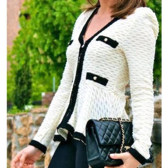 cream cardigan chanel jacket