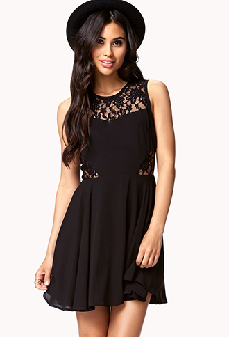 Fit & Flare Lace-Trimmed Dress | FOREVER21 - 2047763340