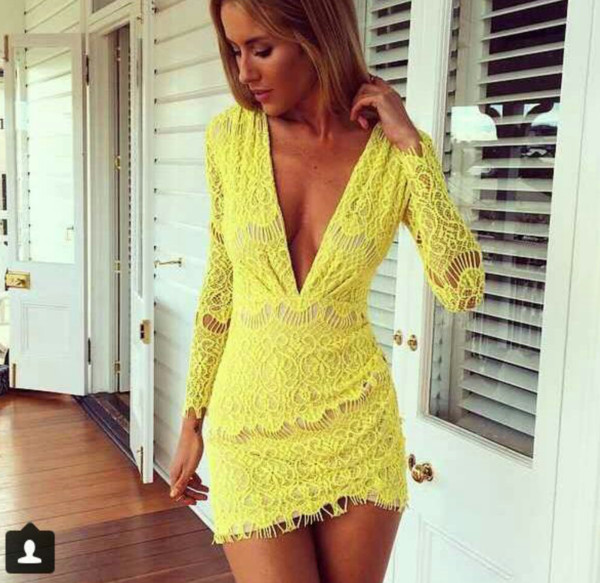 yellow lace dress v cut neck party dress lace homecoming dress dress prom dress prom dress yellow dress yellow lace dress v neck dress short dress birthday dress lace deep v neck dress www.ebonylace.net ebonylacefashion long sleeve dress low cut dress v neck dress yellow lace dress long sleeve