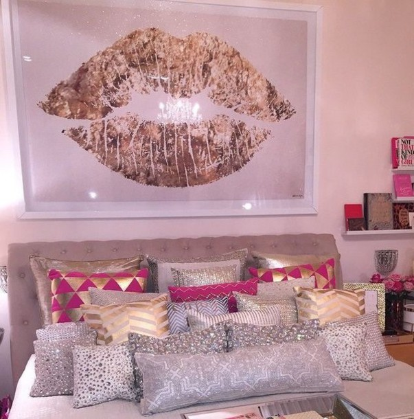 Home accessory: pillow, gold, white, pink, hot pink, silver, pillow, pink and gold, painting ...