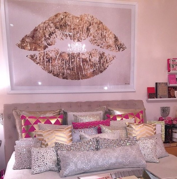 Bedroom Athletics Newport Bedrooms For Girls Designs Bedroom Design Ideas Grey Bedroom Chairs With Arms: Home Accessory: Pillow, Gold, White, Pink, Hot Pink