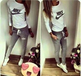 jumpsuit nike sports sporty pretty cool grey white pants
