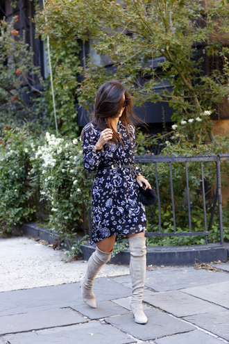dress tumblr fall dress floral floral dress mini dress boots grey boots thigh high boots over the knee boots shoes long sleeves long sleeve dress blue dress