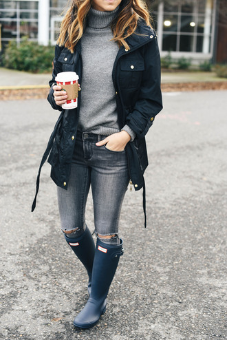 sweater tumblr grey sweater turtleneck turtleneck sweater jacket black jacket denim jeans grey jeans ripped jeans boots blue boots hunter boots wellies coffee