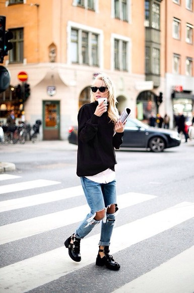 black sweater ripped jeans shoes balenciaga balenciaga boots jeans black, boots,