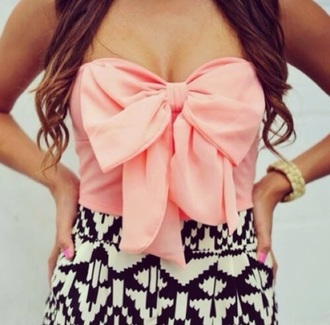top knot pink bow dress pink top