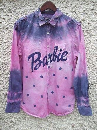 top barbie tie dye dip dye polka dots studs long sleeves collar
