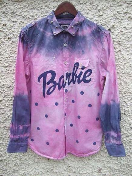 studs top barbie tie dye dip dye polka dots long sleeves collar