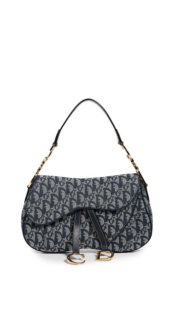 What Goes Around Comes Around Dior Canvas Double Saddle Bag in navy