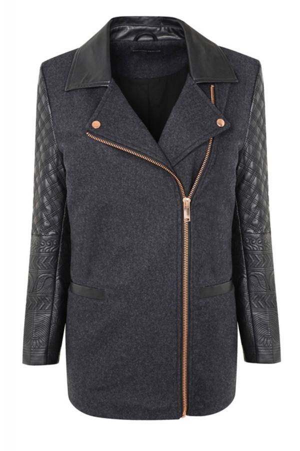 coat leather biker jacket embossed