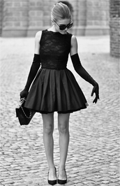 dress,black,lace,short,tank top,little black dress,blouse,prom dress,gloves,black dress