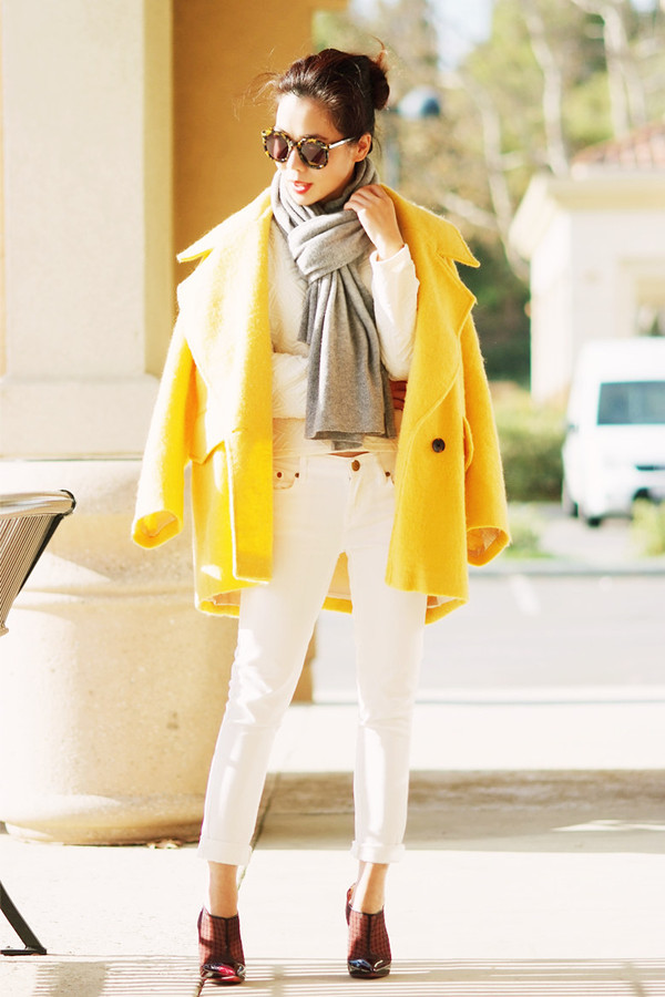 hallie daily coat shoes scarf sunglasses