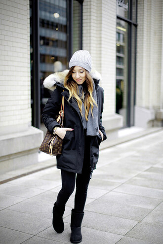 flirting with fashion blogger scarf bag jewels parka knitted beanie louis vuitton
