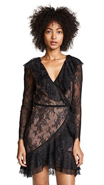 For Love & Lemons dress wrap dress lace black