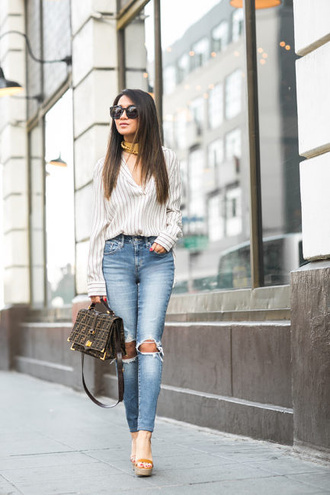 wendy's lookbook blogger bag shoes sunglasses jewels striped top long sleeves button up skinny jeans ripped jeans wedges wedge sandals