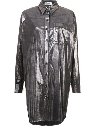 shirt long shirt long metallic women spandex cotton grey top