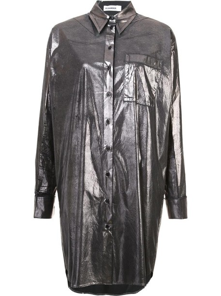 Jil Sander shirt long shirt long metallic women spandex cotton grey top