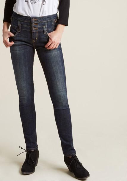 99107 top denim style high dark cotton blue