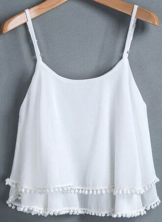 tank top summer white shirt blouse spring pom pom top style white dress white top summer top