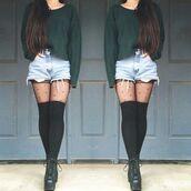 socks,thigh highs,knee high socks,black,sweater