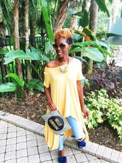chicstylez360,blogger,top,shoes,bag,sunglasses,jewels,furry shoes,long t-shirt,summer outfits,yellow top