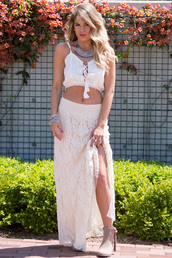 skirt,maxi skirt,lace,boho,indie,coachella,festival,bohemian,crop tops,tassel,spring,summer,cute,trendy,girly,jewelry,outfit,summer outfits,spring outfits,crochet,white,boots,fashion,style,shirt,shoes,jewels,tank top,white tank top,cropped,elastic
