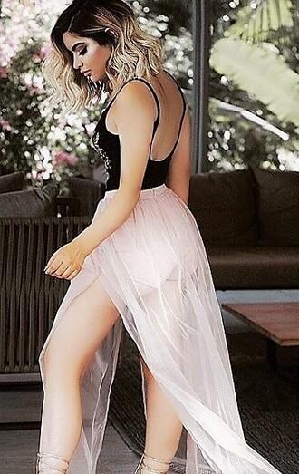skirt maxi skirt tulle skirt spring summer pink blush skirt blush cute skirt flowy skirt
