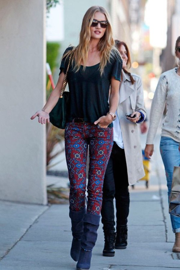 jeans rosie huntington-whiteley printed pants